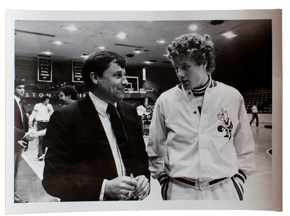 Bob and Brett Brown at Boston University during the 1981-82 season. Bob was an assistant coach and  Brett a junior point guard.