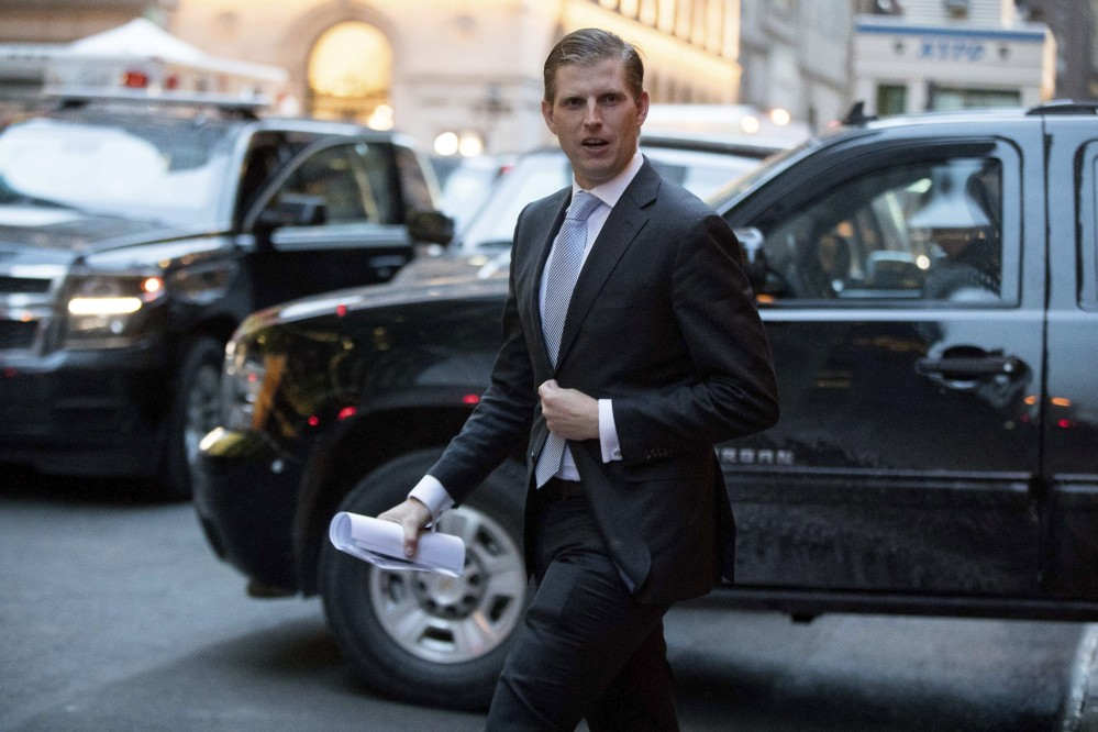 Eric Trump leaves Trump Tower in New York on Jan. 6.