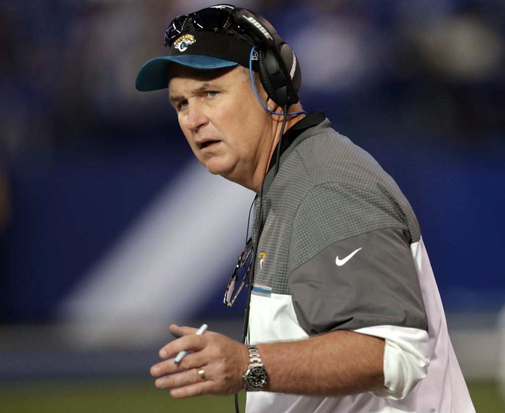 Jacksonville's interim coach Doug Marrone became the head coach Monday, replacing Gus Bradley, who was fired in late November after going 14-48 in three-plus seasons.