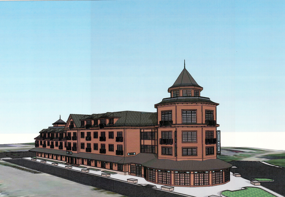 Rendering of Station Square to be built on Railroad Avenue in Gorham.