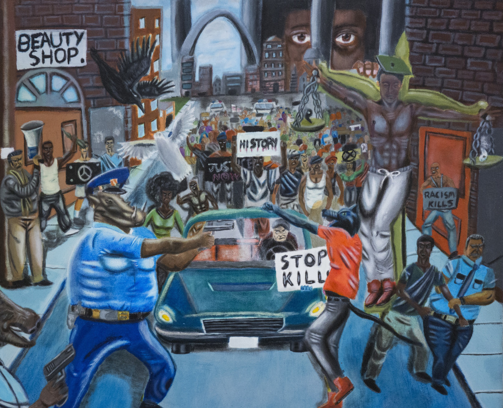 A painting by David Pulphus, a recent high school graduate from Misssouri, has become  the object of a controversy among lawmakers in the U.S. Capitol. The painting was pulled down twice from a tunnel in the Capitol complex and then rehung.