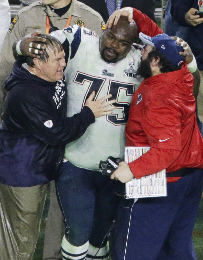 """Vince Wilfork knows that Super Bowl winning feeling, which he shared with Patriots Coach Bill Belichick and assistant Matt Patricia. In what may be his final season – """"You can't play the game forever"""" – he'll have to get past his former team to reach the Super Bowl again, this time with Houston."""