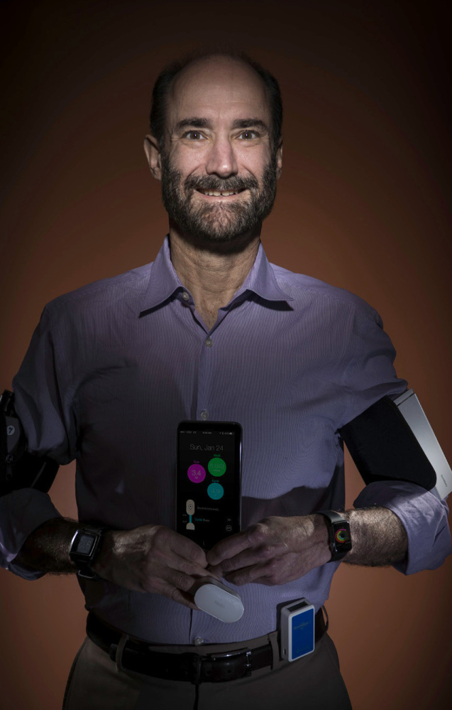 Michael Snyder, a Stanford University professor, sports a variety of wearable gadgets. A smart watch and other sensors alerted him to an oncoming illness before he ever felt any symptoms.