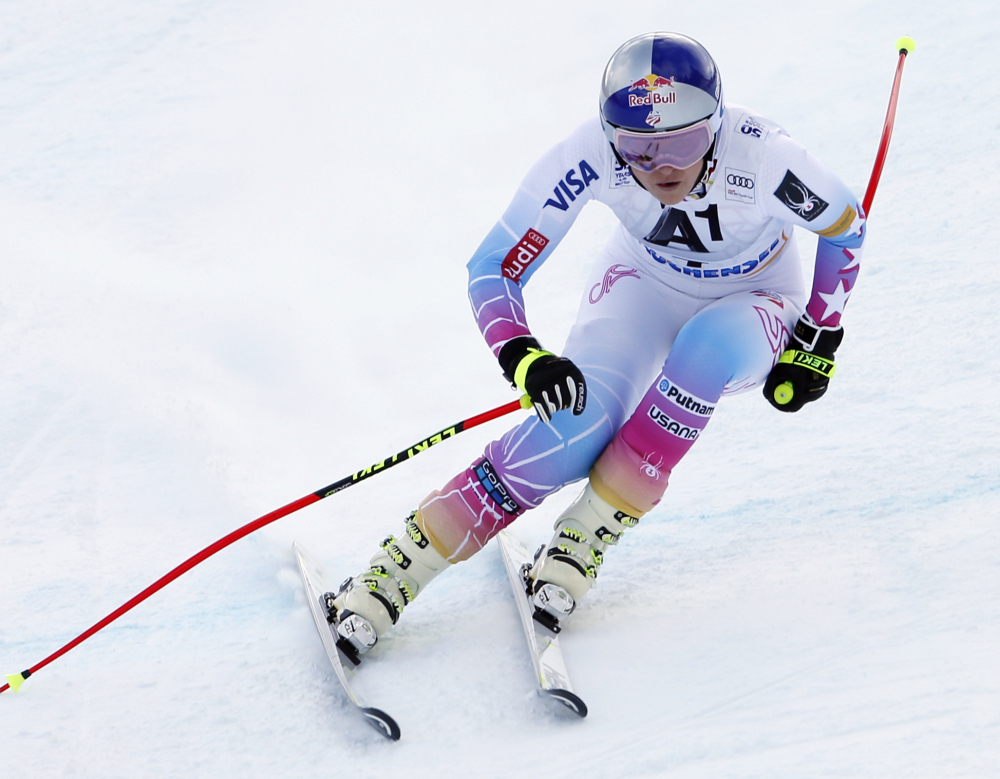 Lindsey Vonn competes for the first time in nearly 11 months during a World Cup downhill race Sunday in Altenmarkt-Zauchensee, Austria. Vonn, coming back from a knee injury and a broken arm, finished 13th.