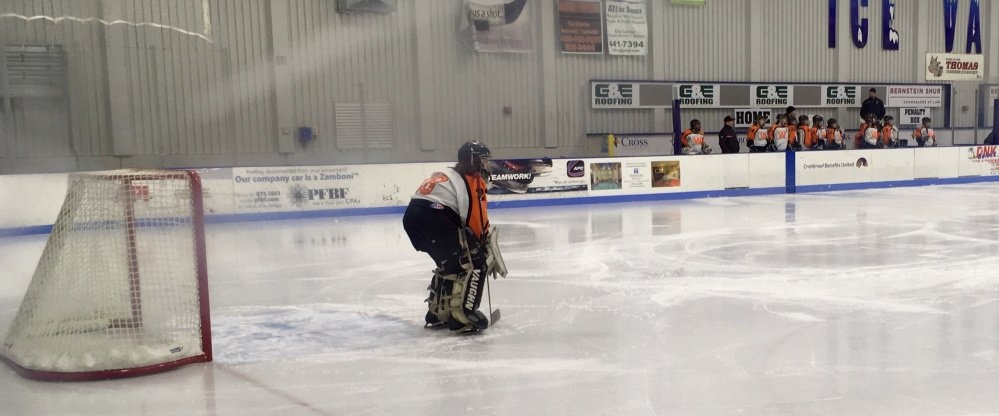 Winslow/Gardiner goalie Cassie Demers is playing in the net for only the second year.