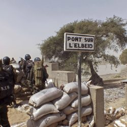 Cameroon soldiers stand guard at a lookout post as they take part in operations against the Islamic extremist group Boko Haram in this 2015 photo. A Nigerian Air Force fighter jet on a mission against Boko Haram extremists mistakenly bombed a refugee camp Tuesday.