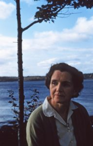 Rachel Carson on her porch in Southport in 1955.