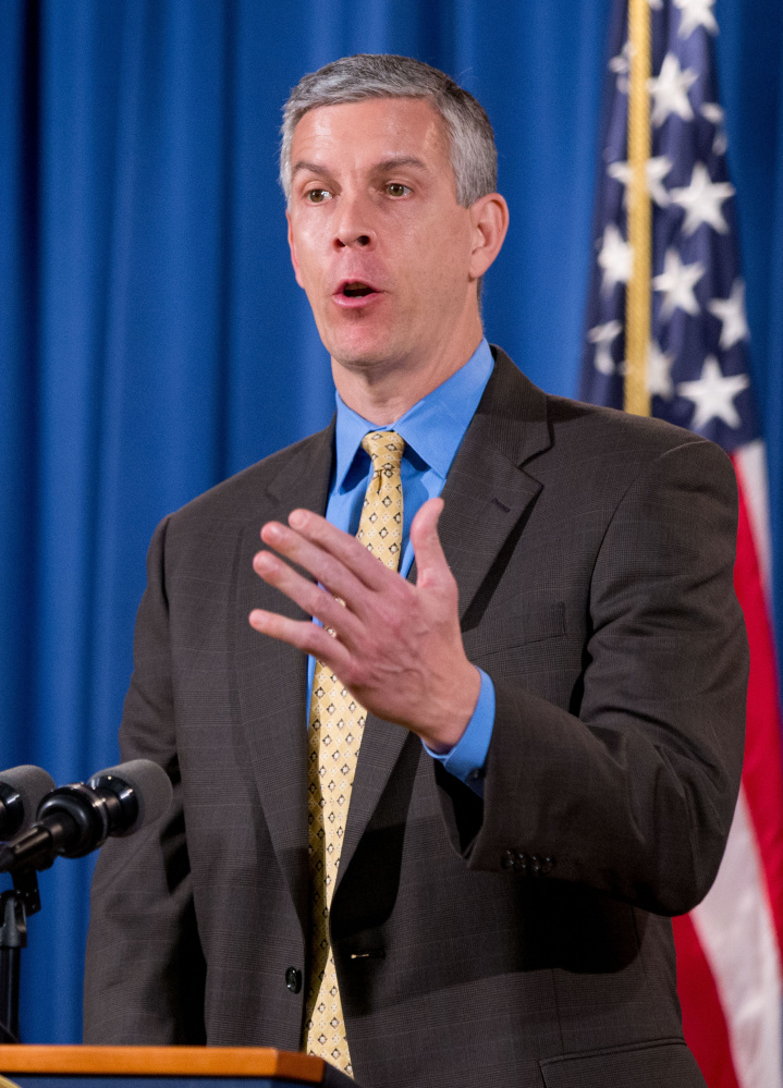 Education Secretary Arne Duncan responds to a question during a news conference in 2015.
