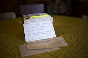 Some of the old recipe cards and the box that they came in when Graham found them at a yard sale about two years ago. Graham believes the woman who made these cards lived in the area because they contain a number of classic New England recipes.