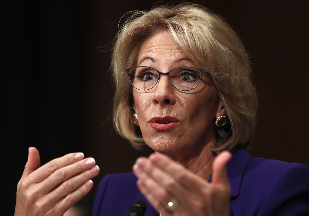 President Trump's nominee for education secretary, Betsy DeVos, testifies on Capitol Hill in January at her confirmation hearing before the Senate Health, Education, Labor and Pensions Committee.