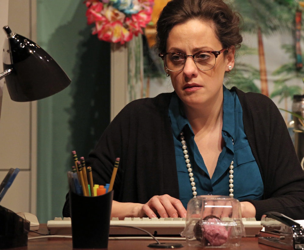 """Abbie Killeen plays Jennifer Nash, a temporary office worker and former high school teen beauty, in """"The May Queen."""""""