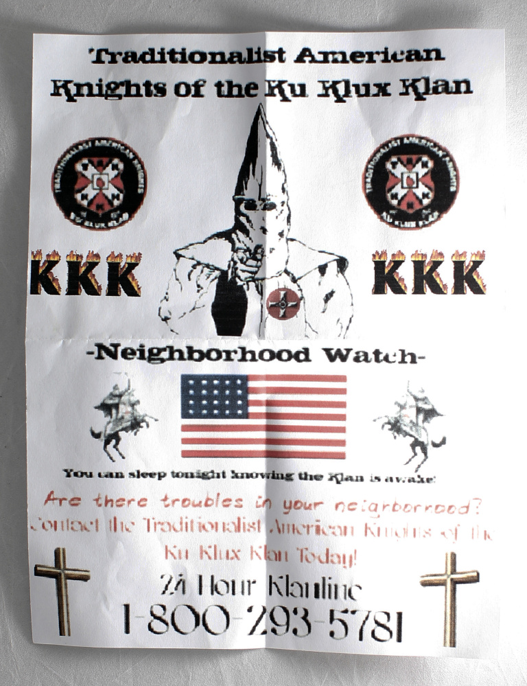 "A ""neighborhood watch"" flier left in a Freeport driveway included text – not shown – that read: ""Are there troubles in your neighborhood? Contact the ... Ku Klux Klan Today!"""