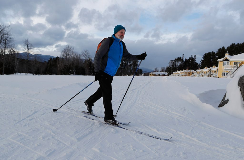 Garret Bonnema skis at the Bethel Village Ski Center, where two area nonprofits have taken over the Nordic trails to create a larger trail network around ...