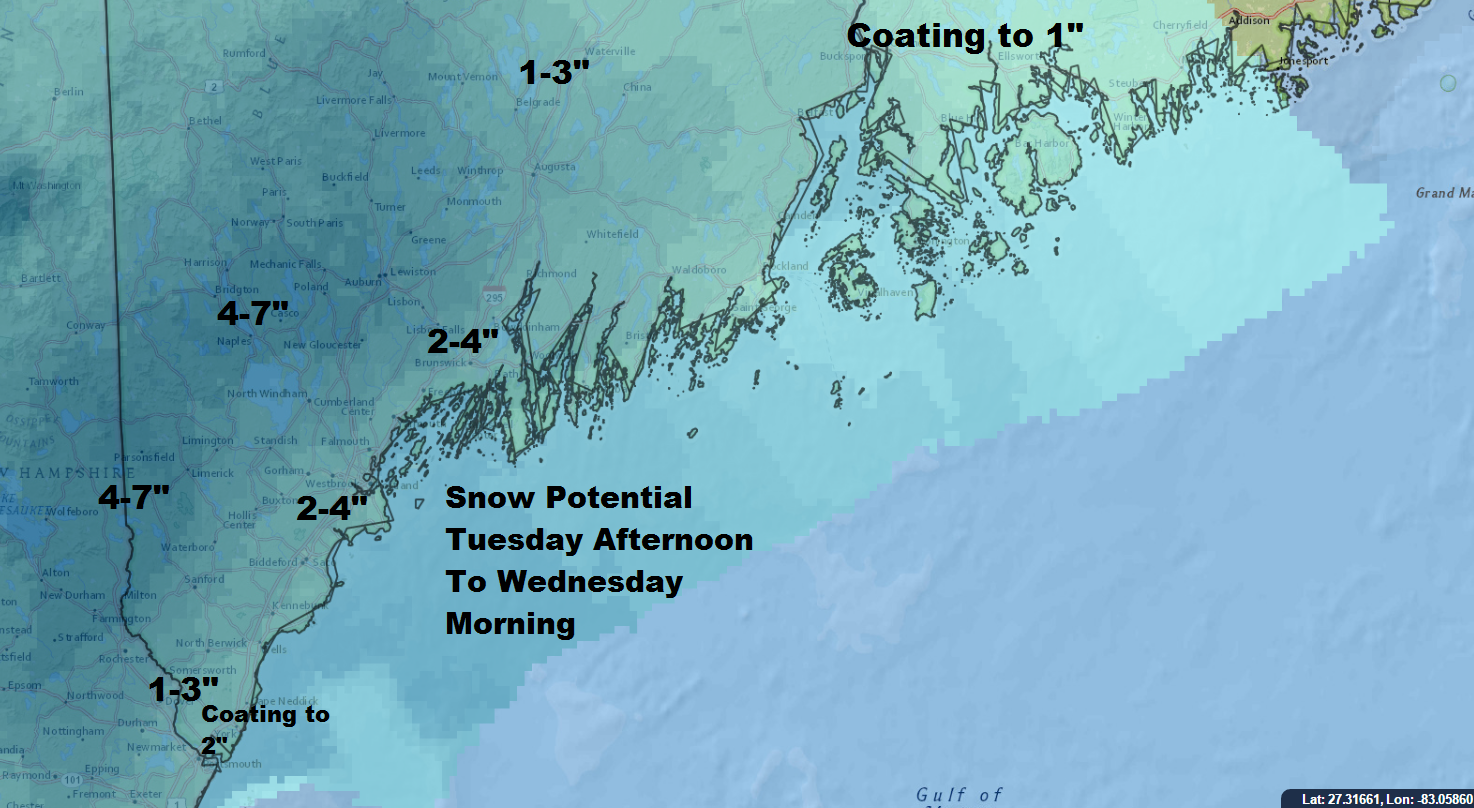 Snow will be heaviest inland during Tuesday Nights snow.