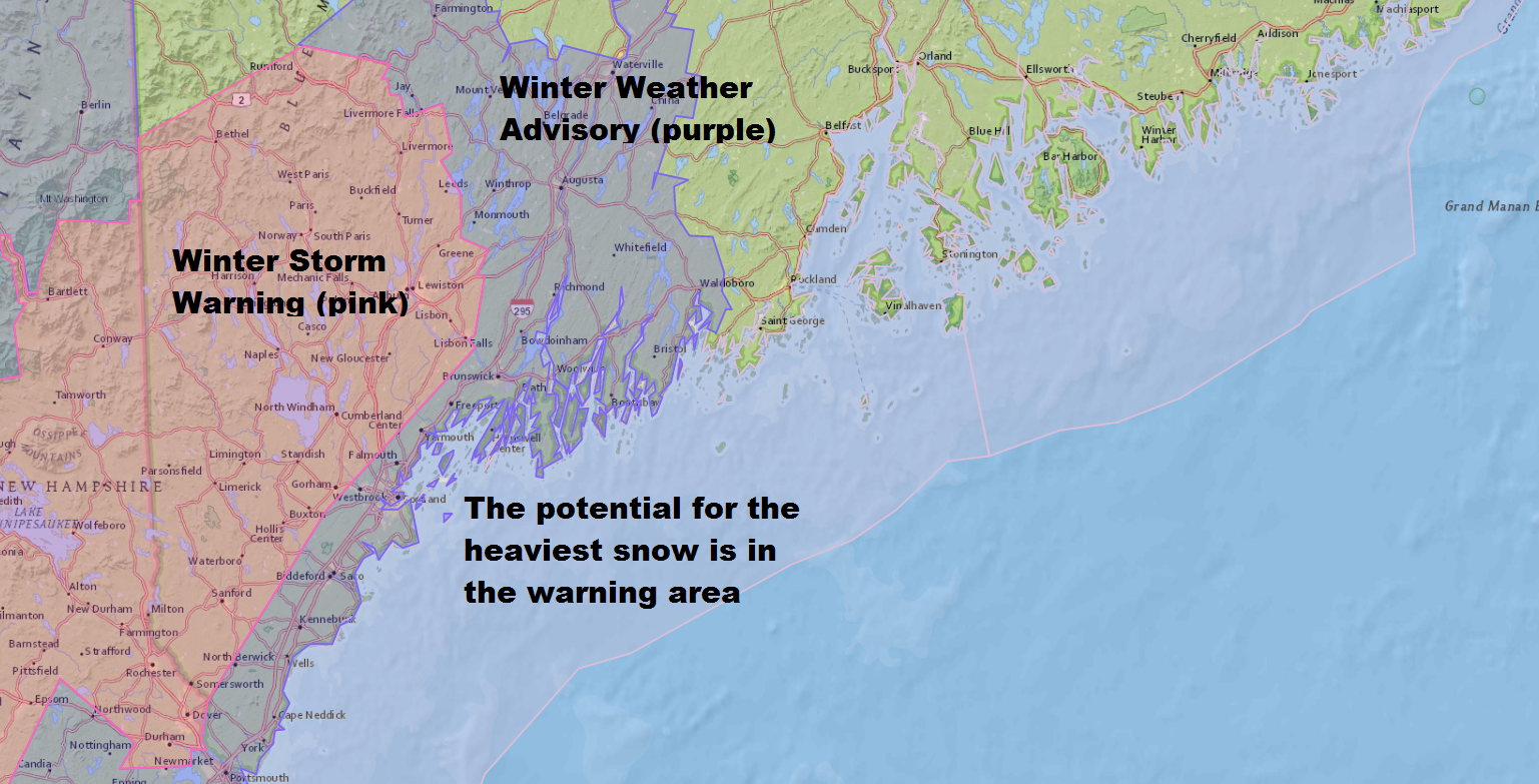 Winter storm warnings and winter weather advisories are posted for much of southern Maine