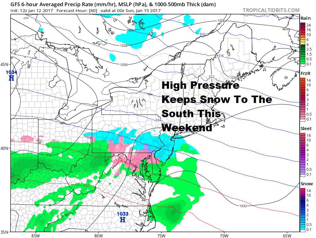 No Snow in Maine this weekend or southern New England.