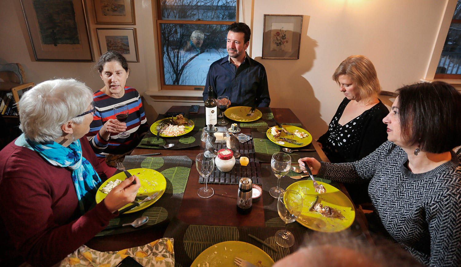 From left, Press Herald copy editor Charmaine Daniels, Food and Source Editor Peggy Grodinsky, Dave Rowe, Stacey Guth and Gillian Britt gathered to try Denny Breau's pot roast.