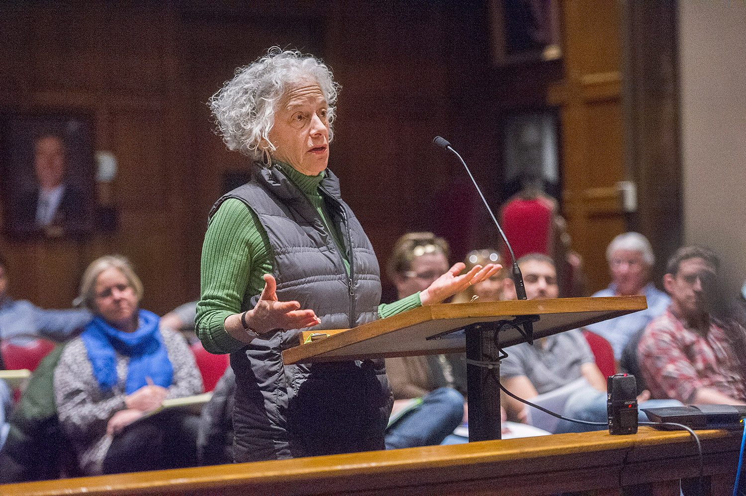 Elizabeth Lantz, who lives on Longfellow Street, speaks out against the short-term rentals during Wednesday's hearing at Portland City Hall.