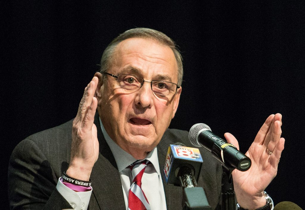 Gov. Paul LePage holds a town hall meeting at Biddeford Middle School in January.