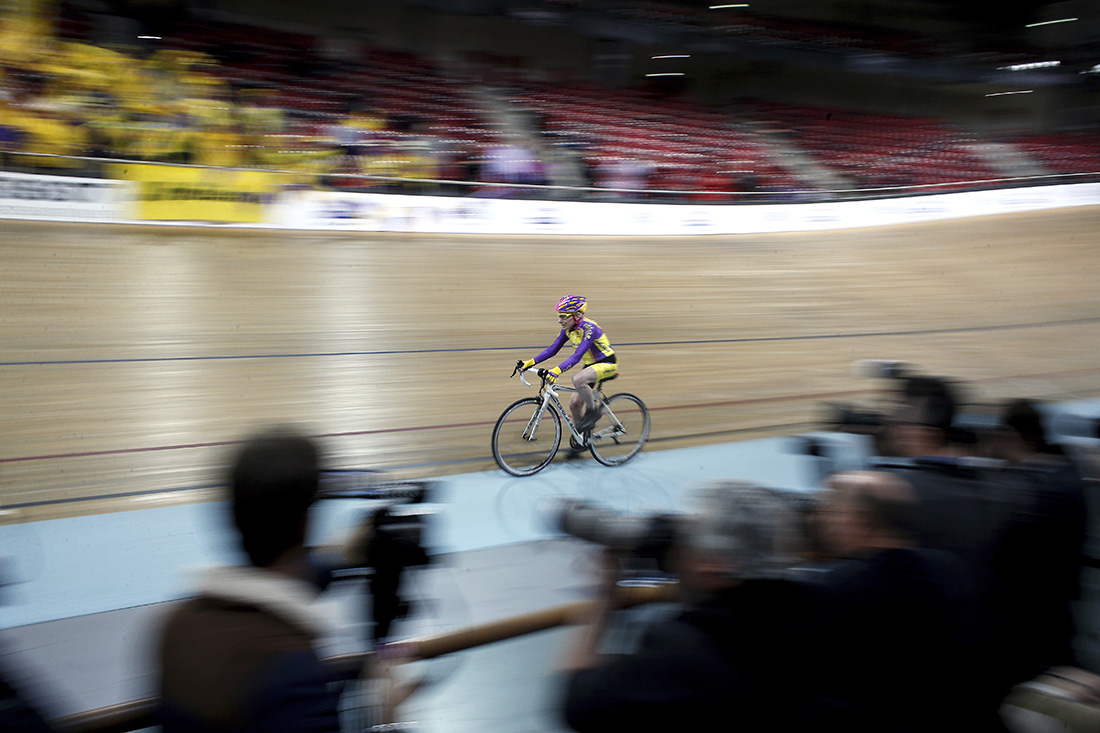 French cyclist Robert Marchand, 105, cycles in a bid to beat his record for distance cycled in one hour, at the velodrome of Saint-Quentin en Yvelines, outside Paris, Wednesday, Jan. 4, 2017. (AP Photo/Thibault Camus)