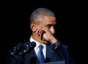 Obama wipes away tears near the end of his farewell address. Associated Press/Pablo Martinez Monsivais