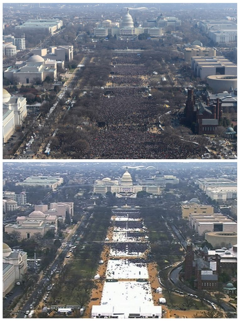 This pair of photos shows a view of the crowd on the National Mall at the inaugurations of President Barack Obama, above, on Jan. 20, 2009, and President Donald Trump, below, on Jan. 20, 2017. The photo above and the video frame below were both shot shortly before noon from the top of the Washington Monument.