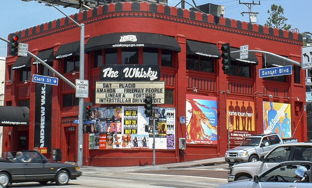 The neon Whisky sign is seen here in 2002 over the marquee at the Whisky a Go Go in West Hollywood.
