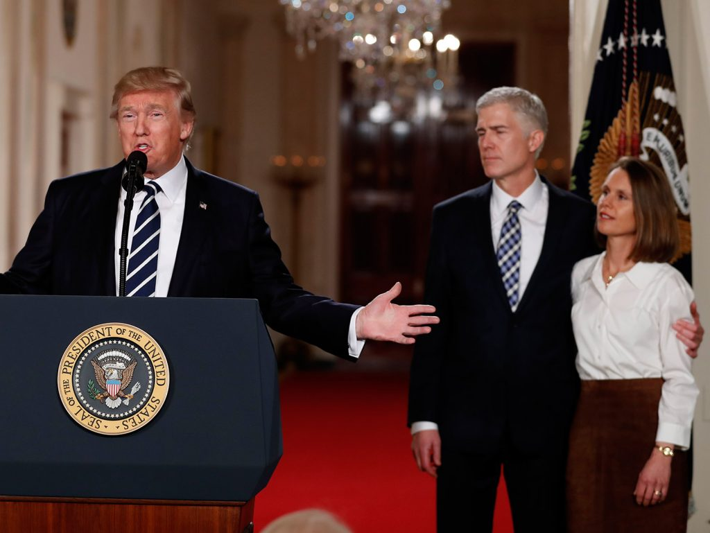 President Trump speaks in the East Room of the White House on Tuesday night to announce Judge Neil Gorsuch as his nominee for the Supreme Court. Trump's choice is perhaps the most significant decision of his young presidency.