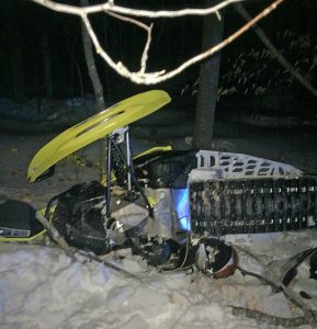 Wreckage of the snowmobile that crashed in