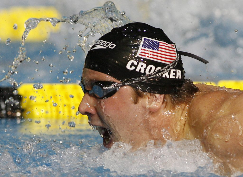 Ian Crocker races to win the silver medal in the men's 100-meter butterfly final at the World Swimming Championships in Melbourne, Australia, in 2007.