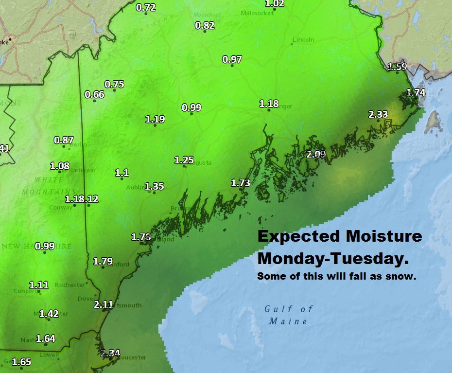 Lots of moisture is on the way Monday night and Tuesday