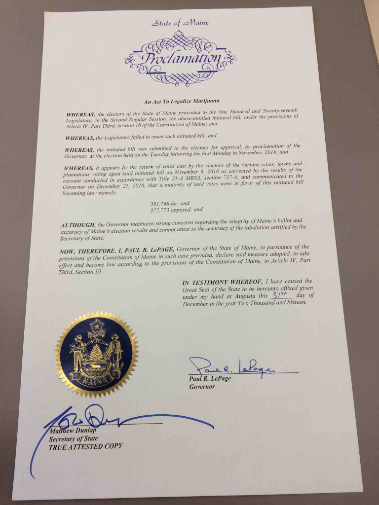 The signed proclamation for Question 1, which legalized recreational marijuana in Maine.