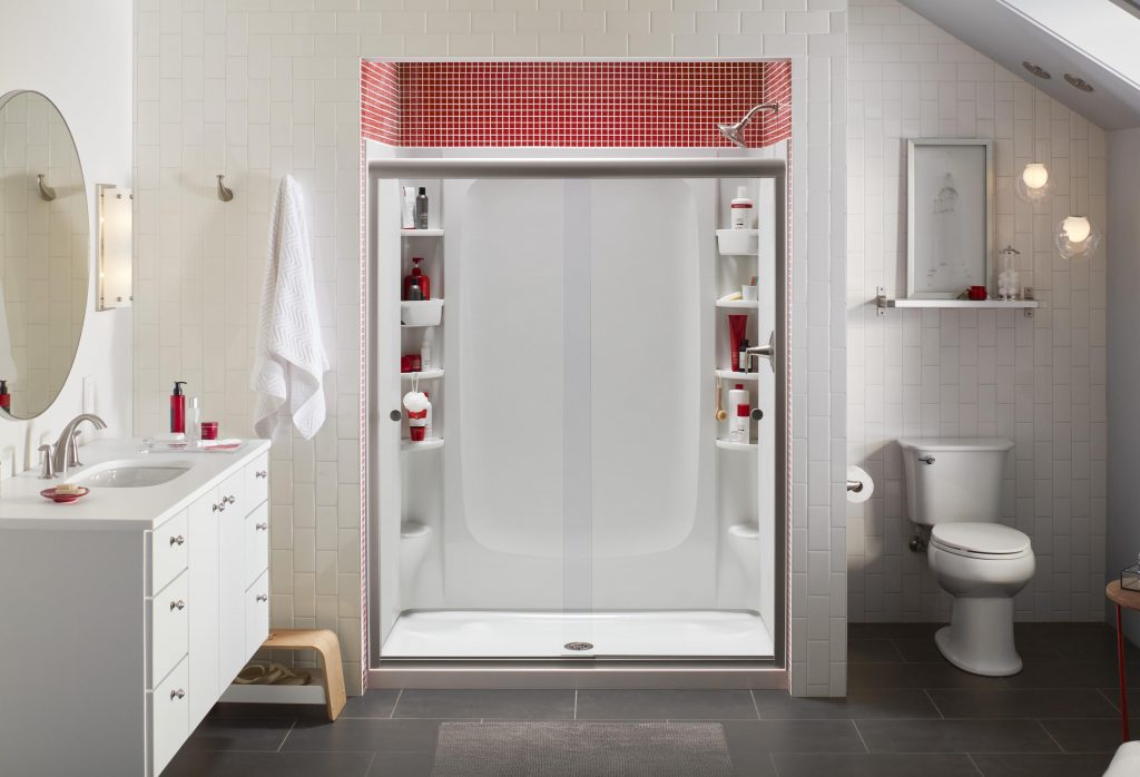 A customizable-storage shower is a great way to save space in the bathroom.