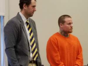 Shane Hall, right, pleaded guilty Wednesday and was sentenced to 15 years in prison for kidnapping a Rockland woman as she walked home from work. His attorney Jeremy Pratt is at left.