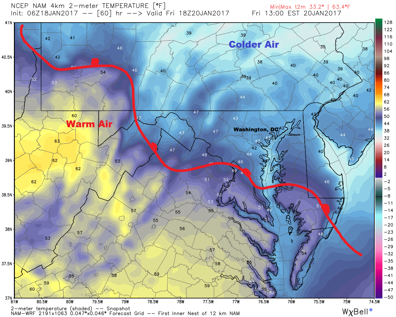 Temperatures will be cool with rain Friday morning in Washington, DC
