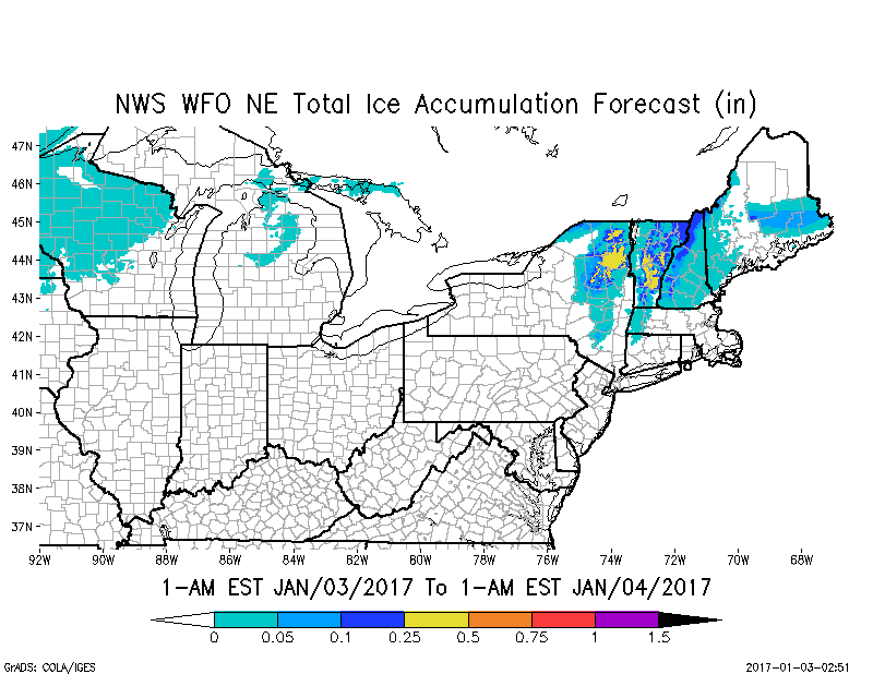 There will be icing inland across Maine and other areas of the northeast