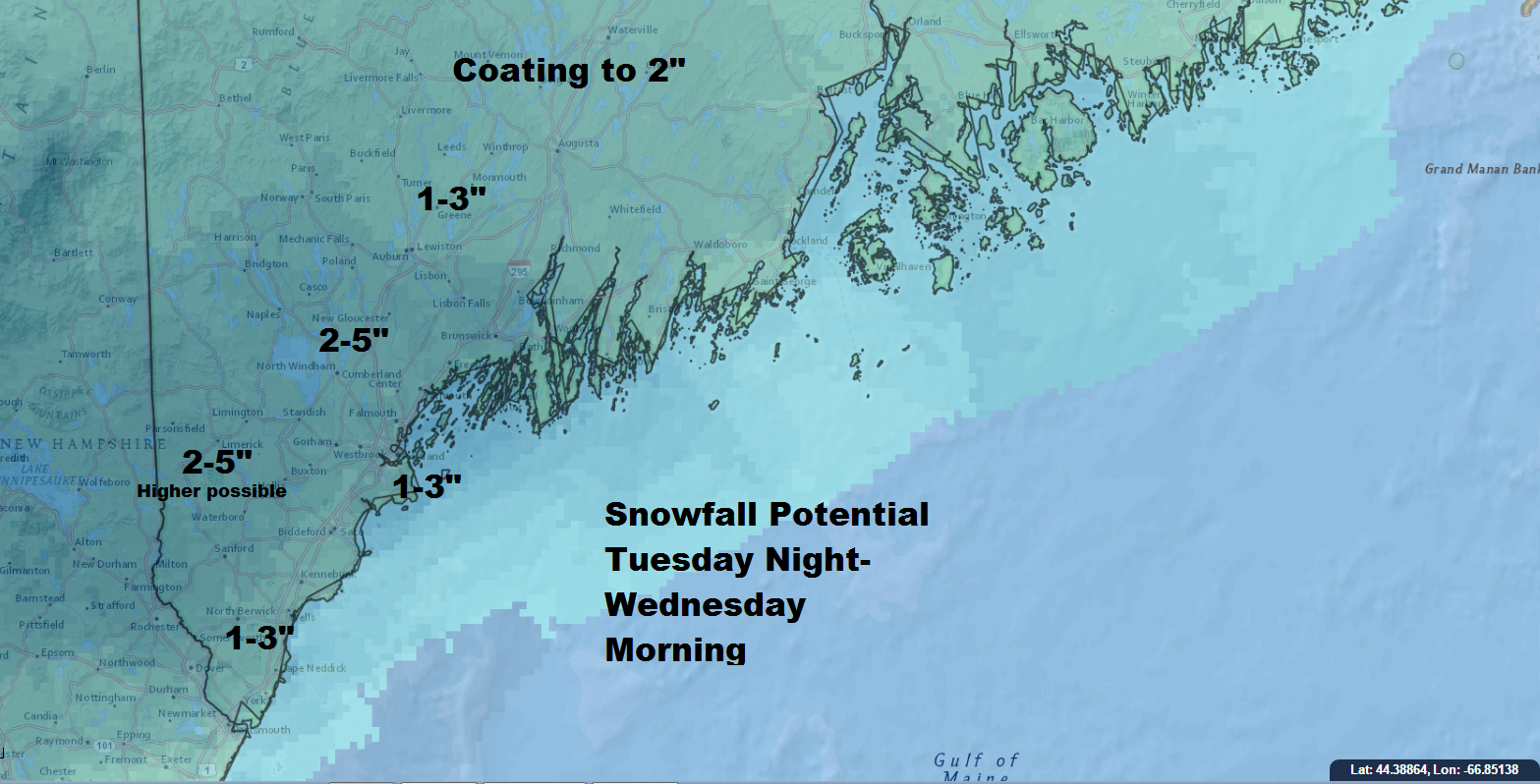 Snow will fall later Tuesday and end during Wednesday afternoon