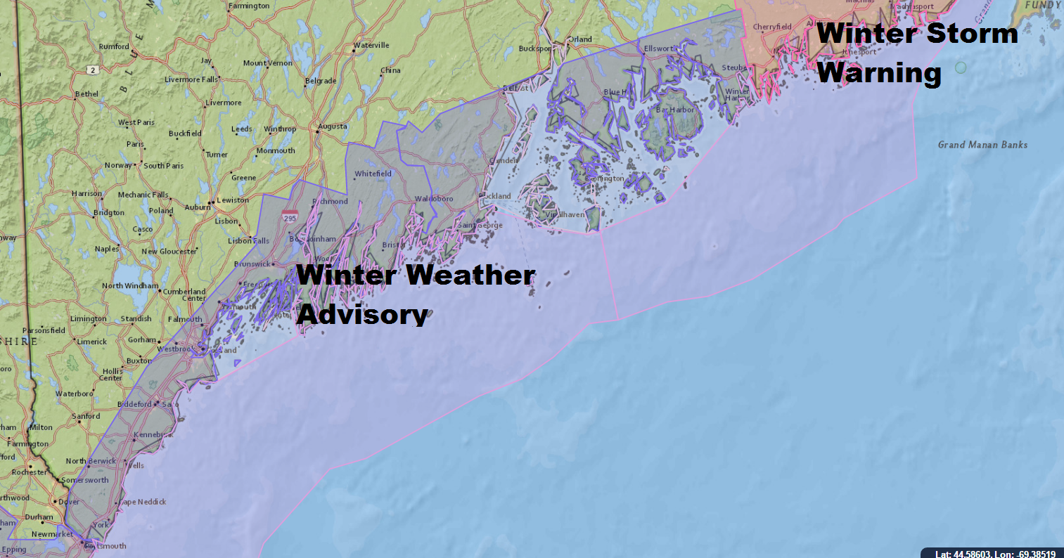 Winter Weather Advisories Due To Snow Are Posted Along The Coast Of Maine