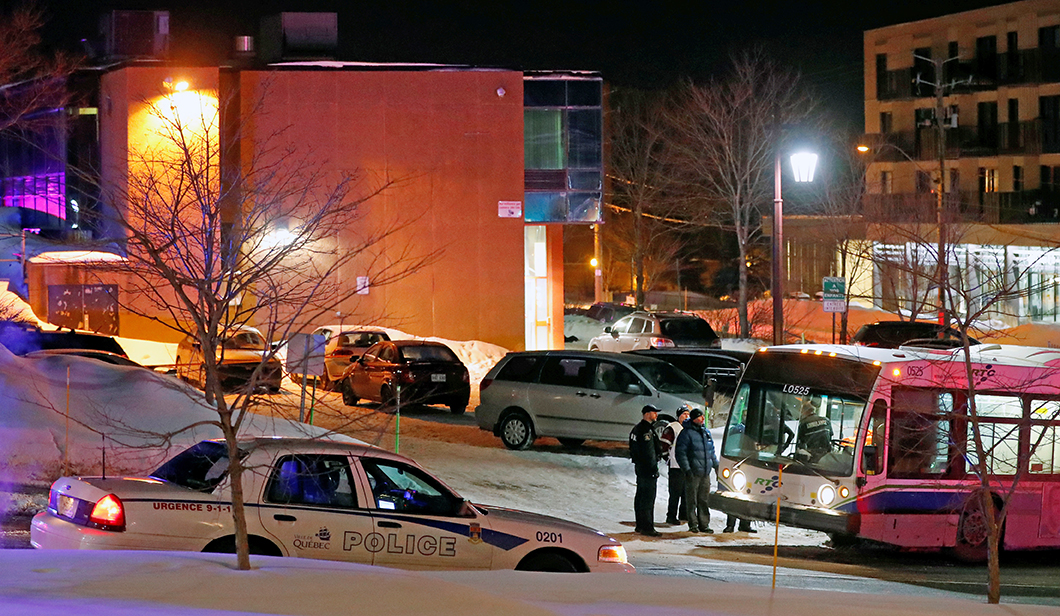 The mosque in Quebec City where the shootings took place Sunday night amid heightened tensions worldwide over President Trump's travel ban on several Muslim countries.