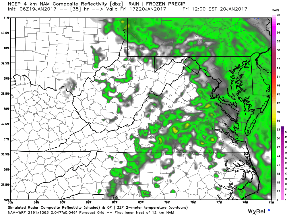 Showers will occur Friday morning in the DC area.