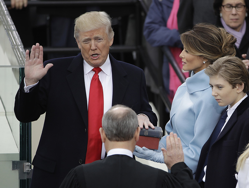 Donald Trump is sworn in as the 45th president of the United States by Chief Justice John Roberts in January 2017. Federal prosecutors have subpoenaed records from the inaugural committee.