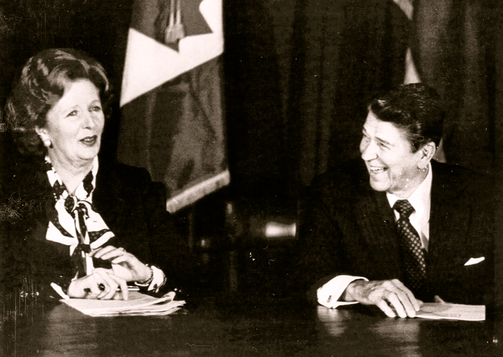 British Prime Minister Margaret Thatcher and President Reagan share a laugh during a meeting of the Allied leaders in New York on Oct. 24, 1985.