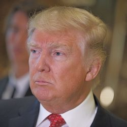 President-elect Donald Trump listens to a reporter's question at Trump Tower on Monday in New York. It has been six months since Trump gave a formal news conference, during which he made headlines by inviting Russian hackers to release Democratic opponent Hillary Clinton's private emails.Associated Press/Evan Vucci