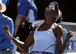 United States' Venus Williams celebrates after defeating compatriot Coco Vandeweghe during their semifinal at the Australian Open on Thursday