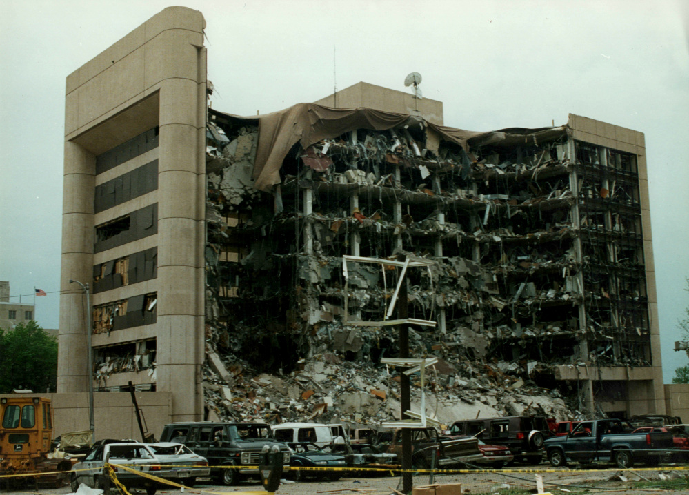 The Alfred P. Murrah Federal Building in Oklahoma City after the 1995 bombing.