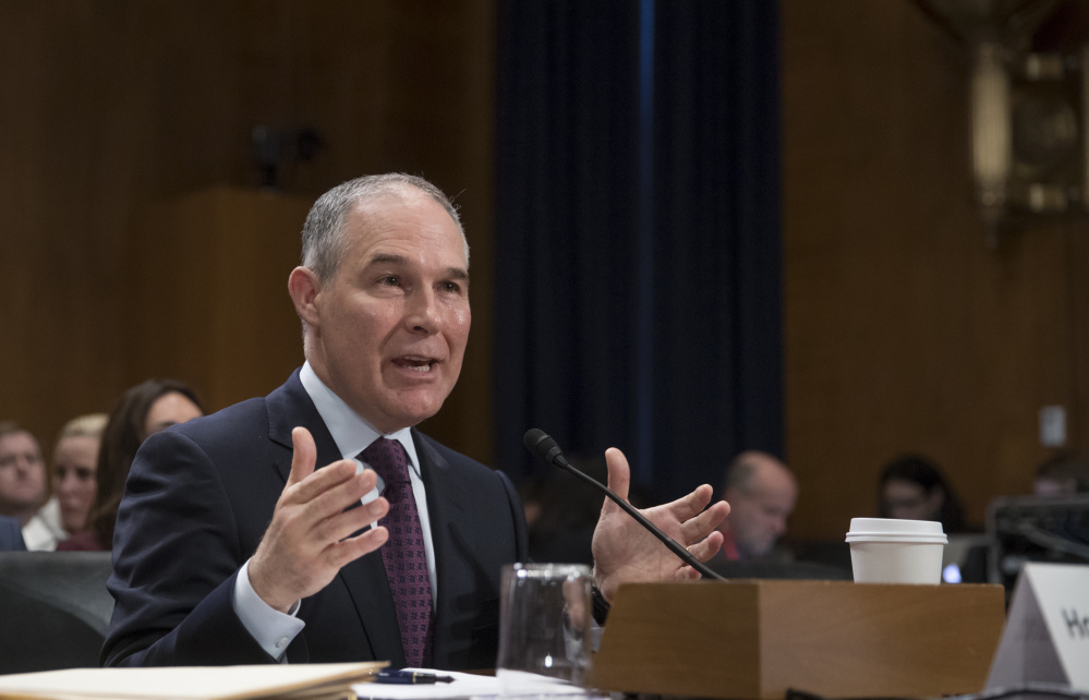 Scott Pruitt, President Trump's nominee to be EPA administrator, testifies at his confirmation hearing in the Senate early this month. Maine's Sen. Susan Collins said she has concluded that Pruitt's vision of the environment and the role of the EPA differs from hers.
