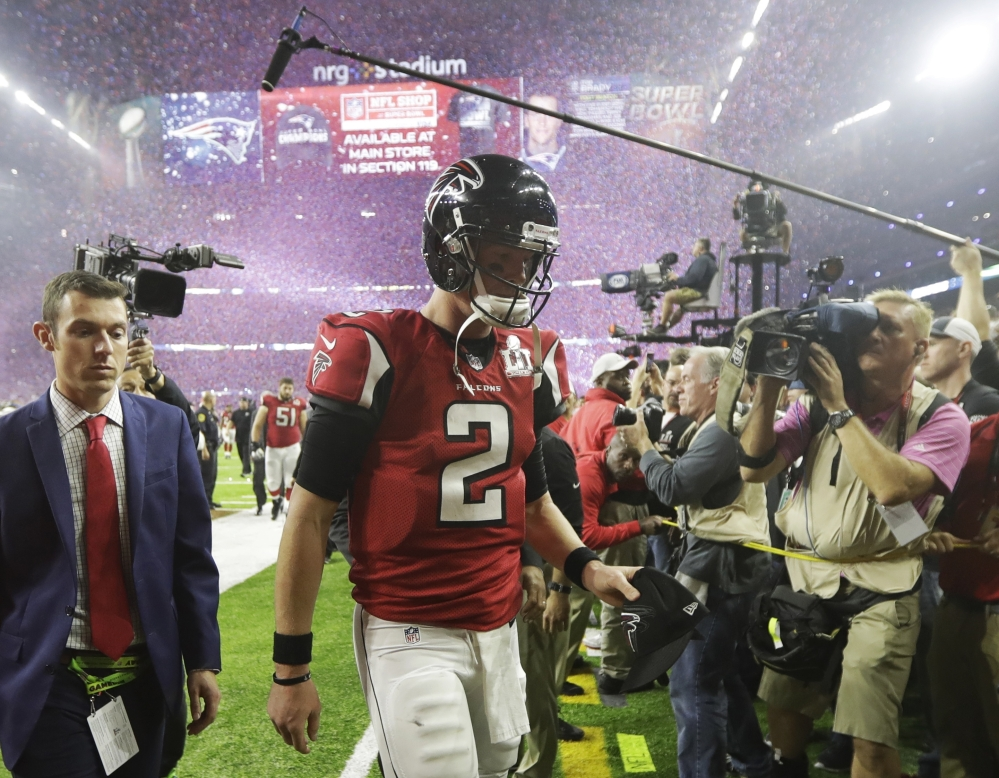 NFL MVP Matt Ryan led the Falcons to a 28-3 third quarter lead over the Patriots in Super Bowl LI before an epic collapse cost them the championship.
