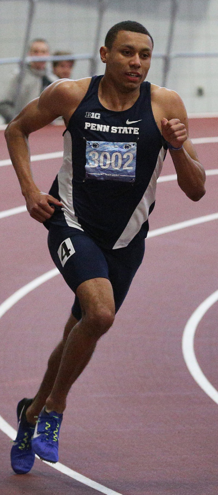 Isaiah Harris of Lewiston, now competing for Penn State, set an NCAA record in the 600 two weeks ago with a time of 1 minute, 14.96 seconds – only the third runner ever to break 1:15.