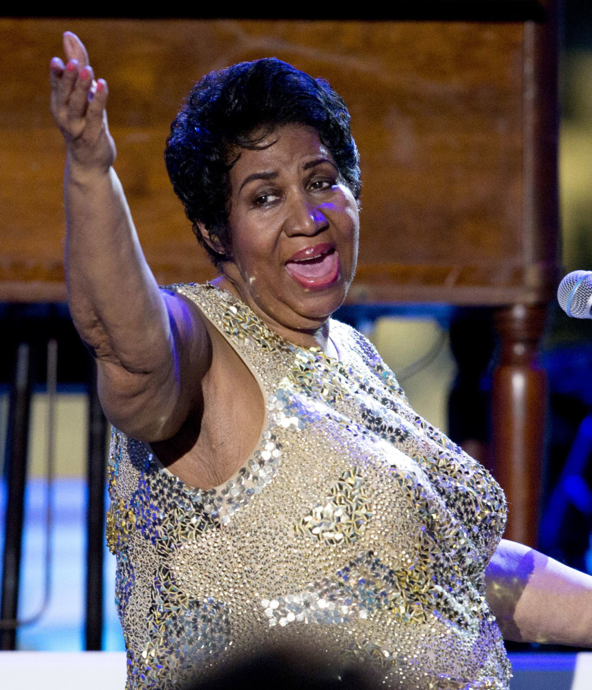 Aretha Franklin performs at the International Jazz Day Concert on the South Lawn of the White House in Washington April 2016.