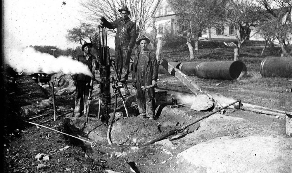 Italian immigrants lay water pipes on Capisic Street in the Deering section of Portland around 1900. The photo was taken by Leonard Bond Chapman, a noted photographer of the era, who lived near the work site.
